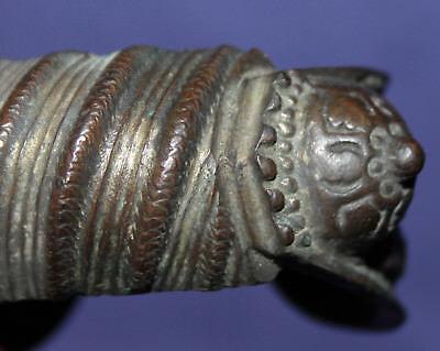 Antique hand made folk medieval Greek fertility bronze bracelet 8