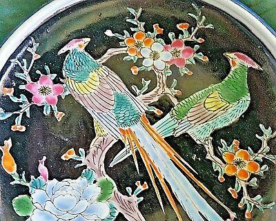 Antique Arita Imari Dish Bowl Signed Japan Enamel Porcelain Rare Flowers Birds 2