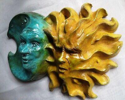 """12"""" by 9"""" Sun and Moon Sculpture, Handmade Indoor Outdoor Original Wall Art 4"""