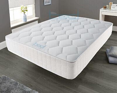 White Memory Foam Spring Mattress - 3ft Single 4ft6 Double 5ft King 6ft Super K 6