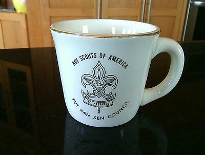 Boy Scouts America Put Han Sen Council Mug Coffee Cup Vintage Gold Trim USA Boys