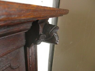 Large Antique Hand Carved Wood Coat Hat Rack Bruegel Figurines Heads Oak 4