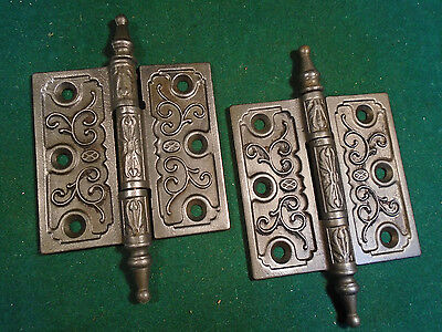 Pair Vintage Eastlake Hinges  3.5  X 3.5 Steeple Top  Beautiful (6391-C) 3