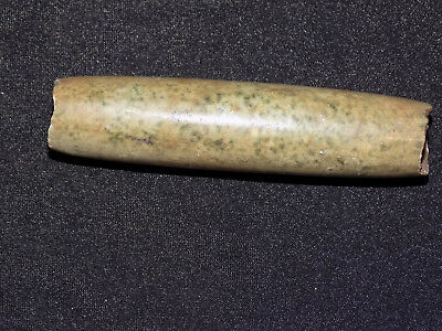 Pre-Columbian Green Jade Tubular Bead, Large Tubular Bead 2