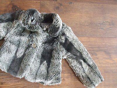 Fits Age 4 Years Girls Three Tone Grey Faux Fur Jacket Autumn Winter Kids 4