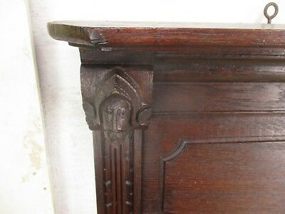 Large Antique Hand Carved Wood Coat Hat Rack Bruegel Figurines Heads Oak
