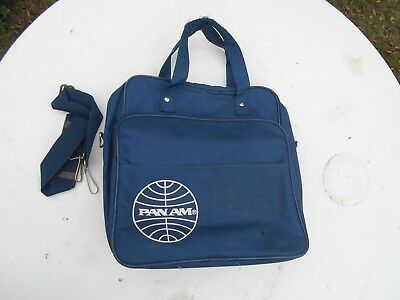 Vintage Pan Am Pan American Airways Carry On Personal Hand Bag Blue Zip Pocket