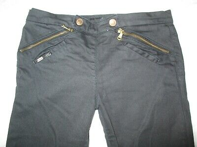 Calvin Klein Black Jeans Trousers Unusual Front Fastening Size 26 W28 L27 2