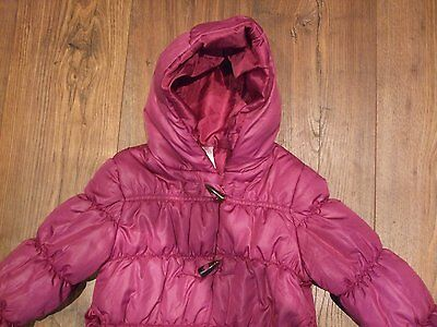 Kids age 3 4 years girls coat pink plum colour padded zip up angel hooded Winter 4