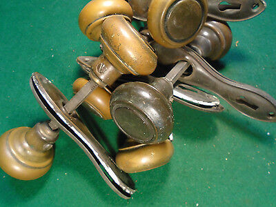 ONE SET of ART DECO KNOBS & PLATES  - ALL BRASS  - FANTASTIC!  (5523) 4 • CAD $31.44
