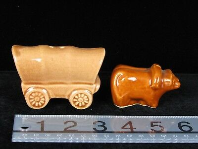 Vintage Oxen and Wagon  Salt and Pepper Shakers tan Brown