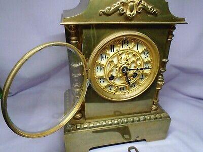 ANTIQUE BRASS FRENCH A.D.MOUGIN STRIKING MANTEL CLOCK + KEY c1860 IN GWO 3