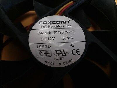 80x25mm Foxconn DC BRUSHLESS Fan PV802512L DC12V 0.20A 3-Wire