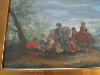 Antique 18Th To 19Th Century Painting On Wood  Old Master Landscape Figures 9
