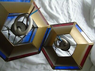 Stained Glass Leaded Copper Brass Lantern Lamp Shade Light 2 Red Blue 6
