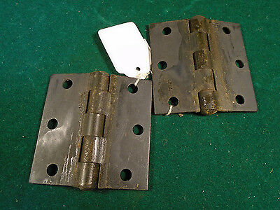 "PAIR of HEAVY STEEL  2"" x  2.5"" SCHOOL CABINET HINGES  -  SALVAGED   (1400-SC) 2"