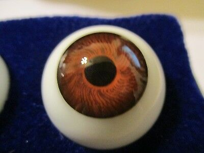 Germany Doll Mannequin 22 mm Vintage Brown Glasaugen Glass Eyes 13.5 mm Iris W