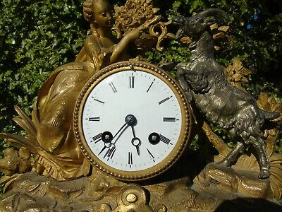 Antique Classical Mantel Clock Japy Freres  D Honneur Gilt Goat  French Art Girl 6