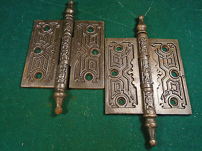 Special Auction For Viv - Three Vintage Eastlake Hinges  4  X 4  Steeples-(6274)
