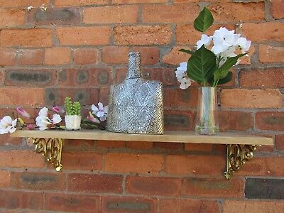 SOLID OAK WOOD HANDMADE SHELVES rustic Shelf cast iron shelf brackets 3