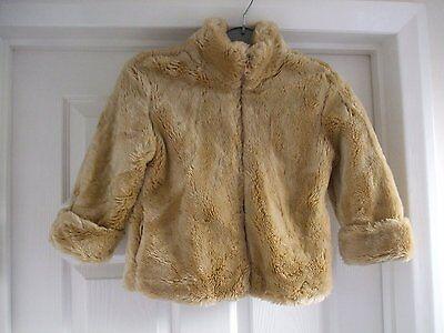 Z. Kids age 4 girls faux fur beige light brown jacket GAP size xs Smart CASUAL 4