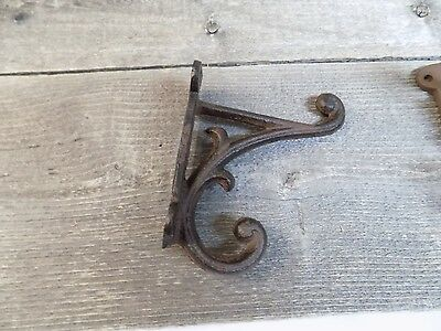 "8 Brown Rustic Coat Hooks Antique Style Cast Iron 4.5"" Wall Double Restoration ! 2"