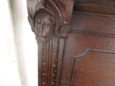 Large Antique Hand Carved Wood Coat Hat Rack Bruegel Figurines Heads Oak 6