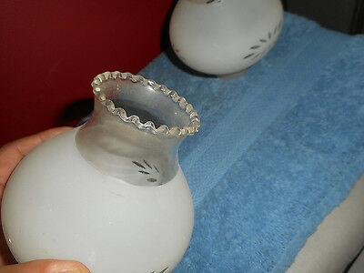 Vintage Hurricane Glass Wall Sconce Light Shades (2) Frosted Lace Ribbon Tops 4
