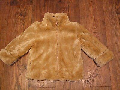 Z. Kids age 4 girls faux fur beige light brown jacket GAP size xs Smart CASUAL 2