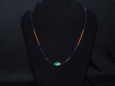 Pre-Columbian Jade Triangular Bead with Sapphire, Coral and Gold Necklace 2