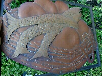 Arts And Crafts Copper Brass Bronze Cut Out Panel 3 Fish Basket Picture Plaque 7
