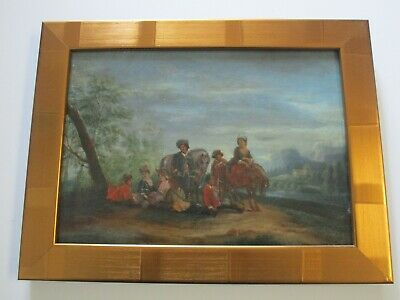 Antique 18Th To 19Th Century Painting On Wood  Old Master Landscape Figures 3