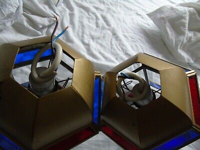 Stained Glass Leaded Copper Brass Lantern Lamp Shade Light 2 Red Blue 7