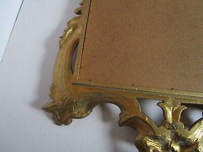 "Florentine Hollywood Regency Shell Gold tone Wall Mirror Ornate Italy 23¼"" W 10"