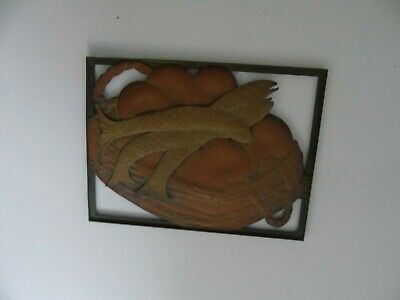 Arts And Crafts Copper Brass Bronze Cut Out Panel 3 Fish Basket Picture Plaque 4
