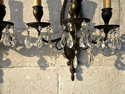 Wall Sconces by E.F. Caldwell Gorgeous Large Pair Three-arm Bronze Prisms 5