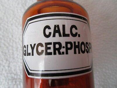 alte Apothekerflasche Braunglas mit Schliff-Stopfen Calc. Glycer. Phosph. RAR!