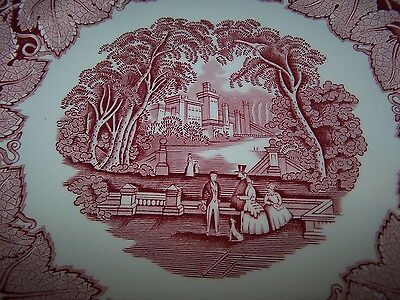 Masons / Mason's Pink / Red Vista 10 3/4'' Banquet Or Large Dinner Plate 2