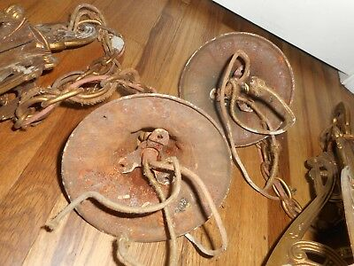 FANCY PAIR OF Antique ART DECO 5 Slip Shade Fancy Ceiling Hanging Light Fixtures 10