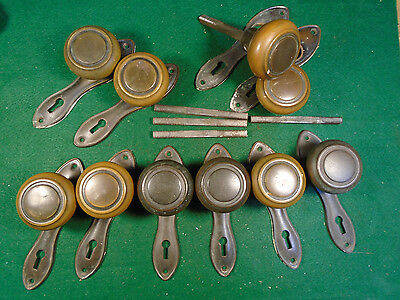 ONE SET of ART DECO KNOBS & PLATES  - ALL BRASS  - FANTASTIC!  (5523) 5 • CAD $31.44