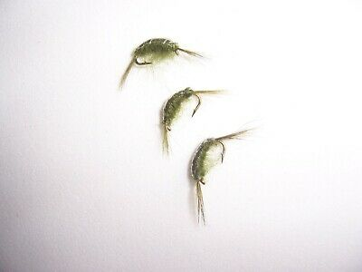 12 x Red Eye OLIVE damsel trout nymphs size 12 Salmoflies Fishing Flies