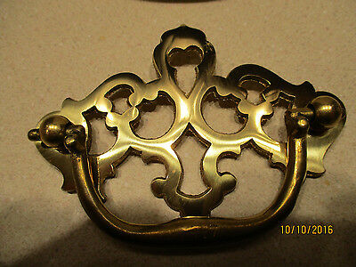 """6 Vintage Solid Polished Brass Chippendale Style Drawer Handles  3"""" on center #2 3"""