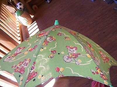 Vintage China Childs Printed Cotton Boy Girls Animals Wood Handle Umbrella Lot