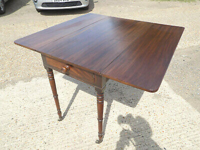 antique,victorian,mahogany,pembroke,table,drop side,extending,drawer,tall legs 5