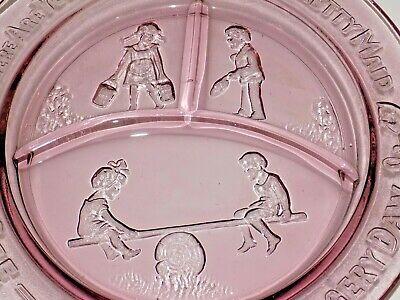 2 Vintage Mother Goose Children Pink Depression Glass Bowl Plate Tiara Set 3