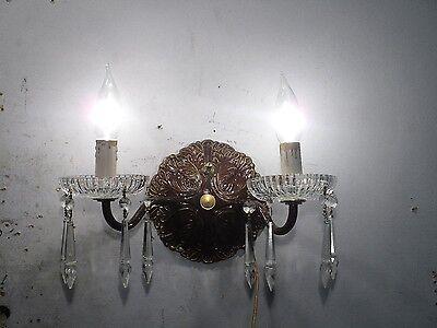 Antique Vintage Sconce Bronze Crystal 2 Light Crystals 6