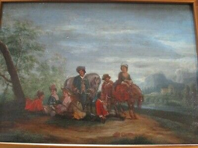 Antique 18Th To 19Th Century Painting On Wood  Old Master Landscape Figures 4