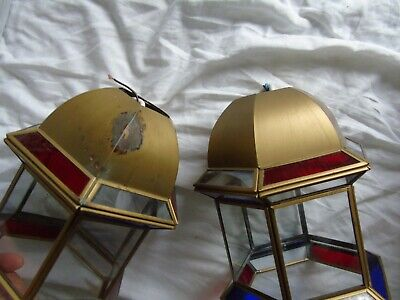 Stained Glass Leaded Copper Brass Lantern Lamp Shade Light 2 Red Blue 9