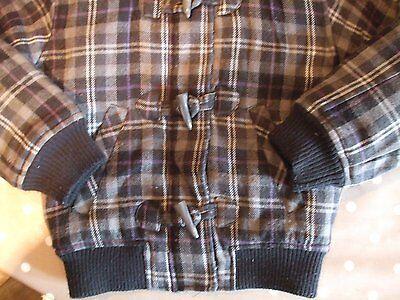 Kids aged 7 - 8 years girls hooded jacket grey purple black check Winter 5