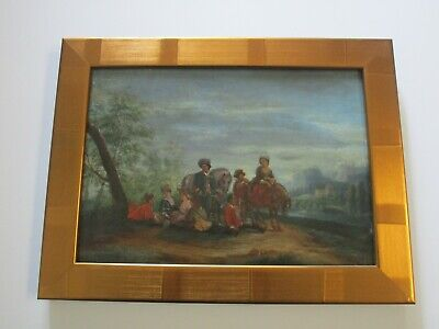 Antique 18Th To 19Th Century Painting On Wood  Old Master Landscape Figures 2